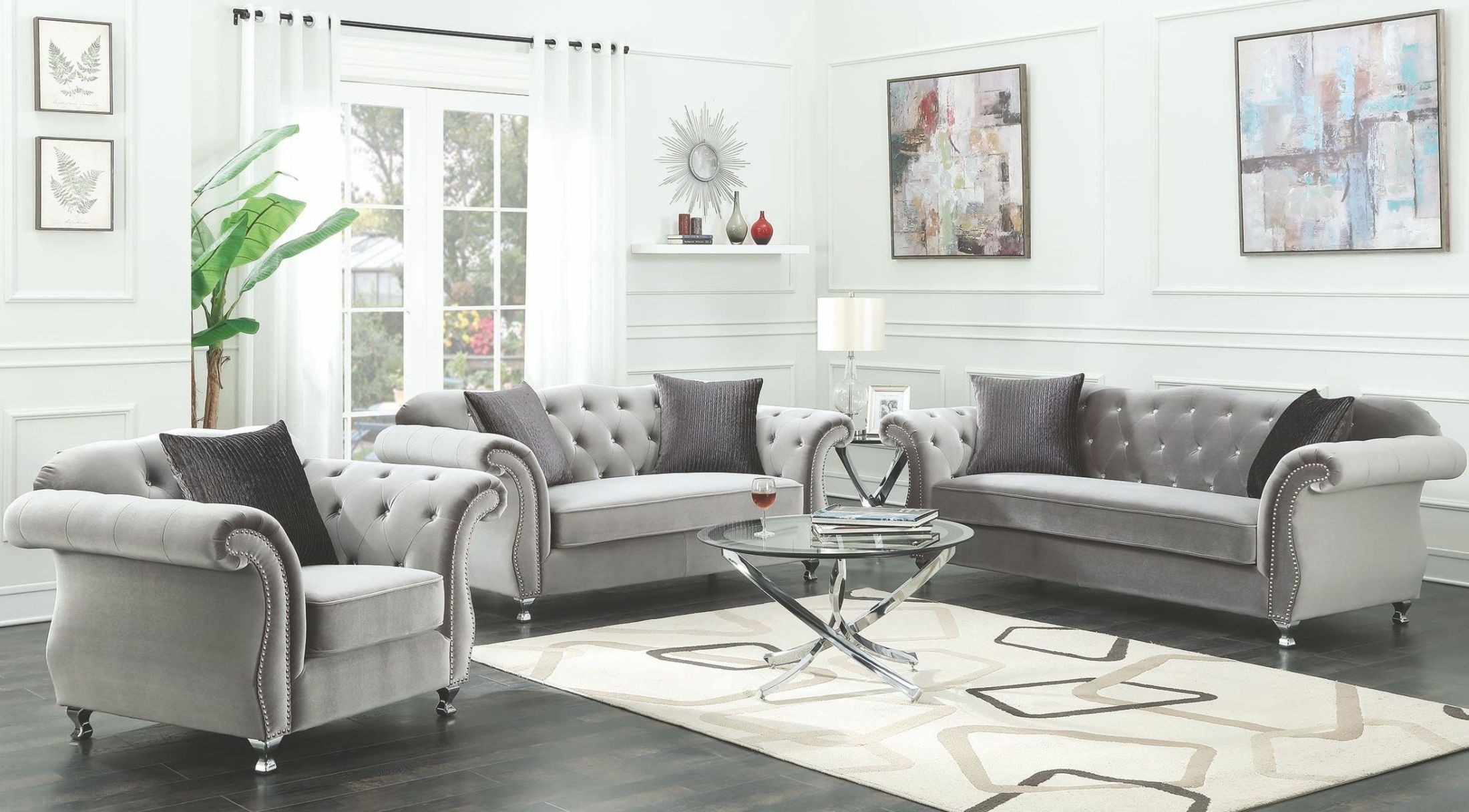 Coaster Frostine Silver Living Room Set Frostine Collection 13 with Living Room Sets