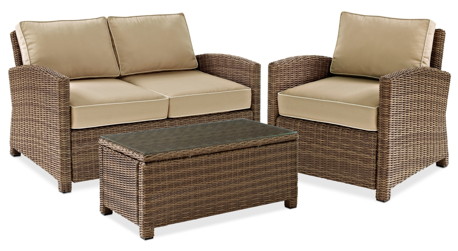 Destin Outdoor Loveseat Chair And Coffee Table Set Value City intended for 13 Clever Ways How to Build Outdoor Living Room Sets