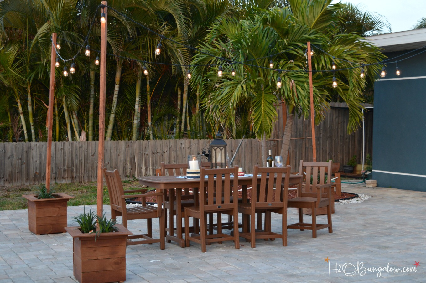 Diy Outdoor String Lights On Poles H2obungalow inside Backyard String Lights Ideas