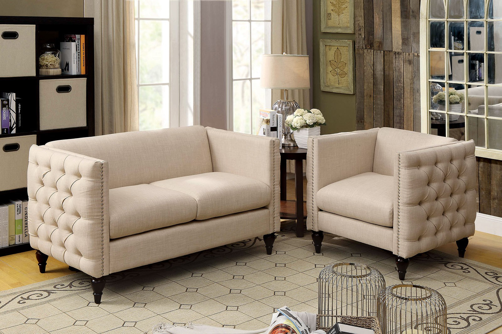 Emer Beige Linen Fabric Loveseat Chair Set W Deep Button Tufting throughout 12 Smart Ideas How to Build Chair Set Living Room