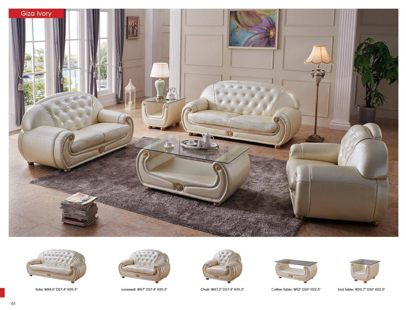 Esf Giza Contemporary Luxury Beige Leather Living Room Sofa Esf throughout 10 Clever Designs of How to Make Beige Leather Living Room Set