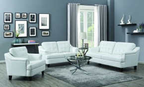 Freeport 3 Piece Living Room Set Snow White Black Coaster Fine throughout White And Black Living Room Set