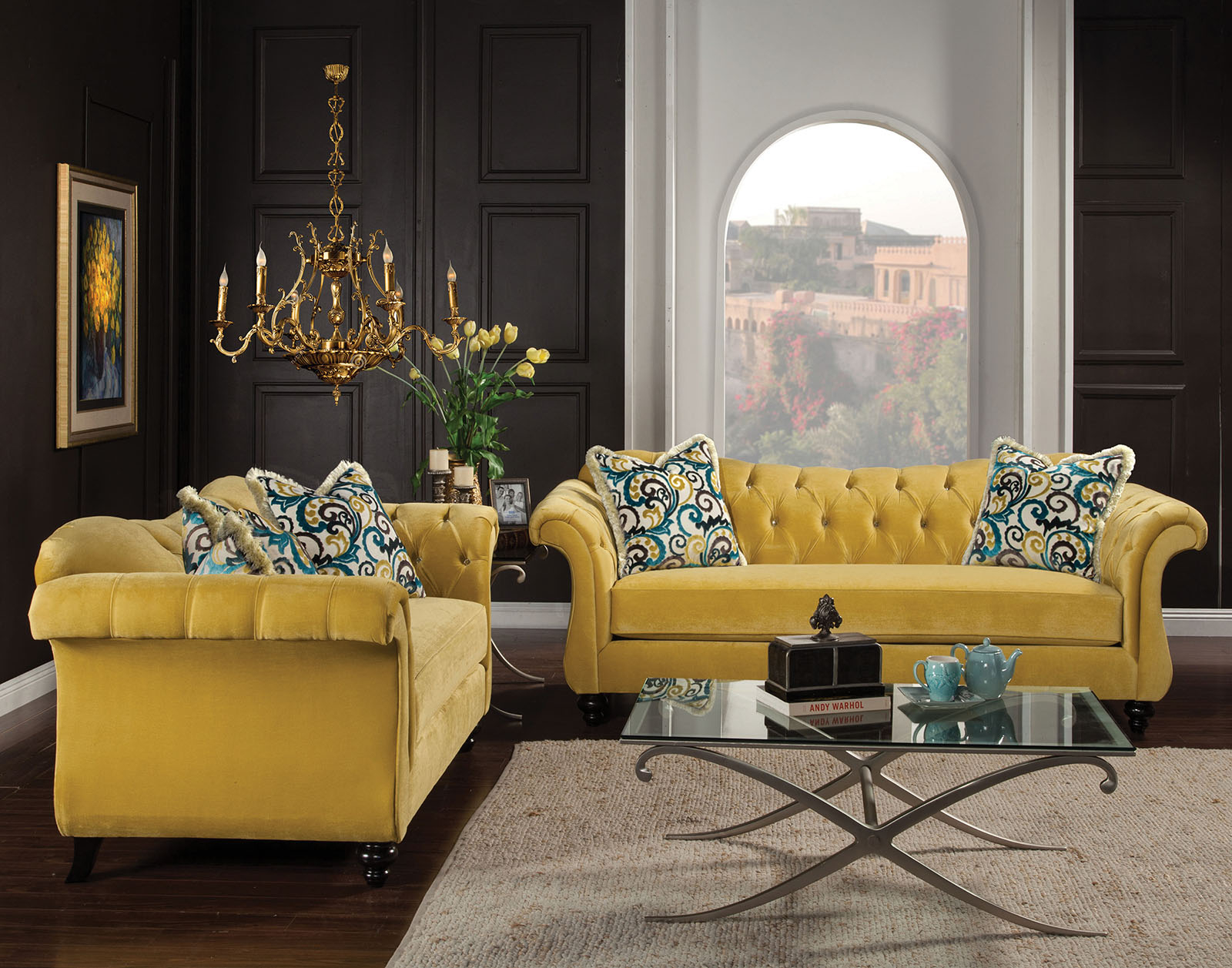 Furniture Of America Antoinette Royal Yellow Living Room Set inside Yellow Living Room Set
