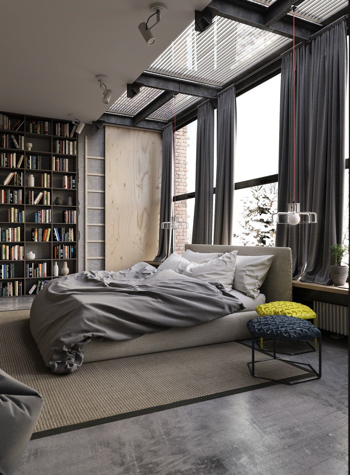 Gray Industrial Bedroom Decor Interior Design Ideas Black White Gray intended for 14 Genius Initiatives of How to Upgrade Elegant Modern Bedrooms