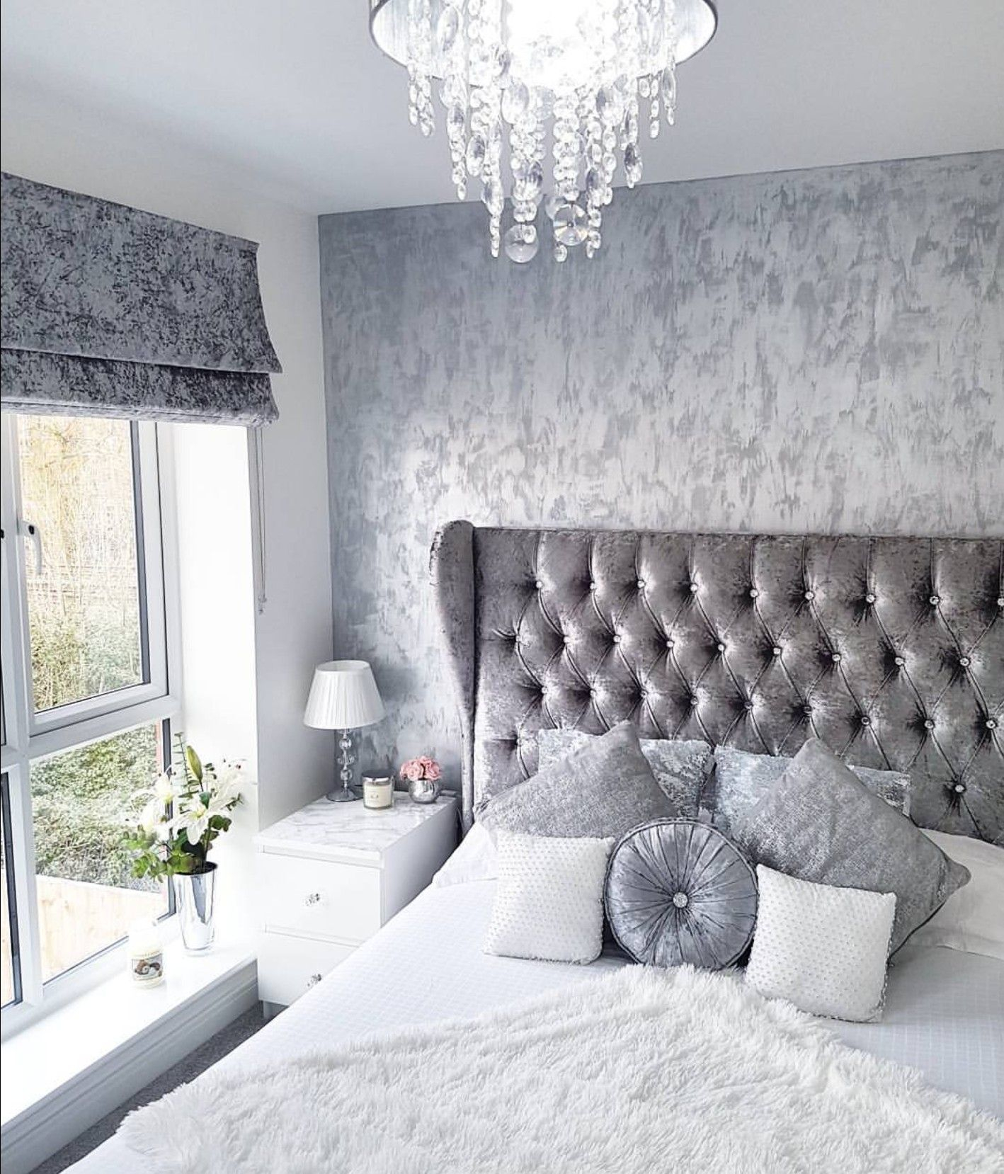 Grey Silver White Crushed Velvet Bedroom Modern Decor Inspo From intended for 15 Awesome Ideas How to Improve Modern Gray Bedroom Ideas