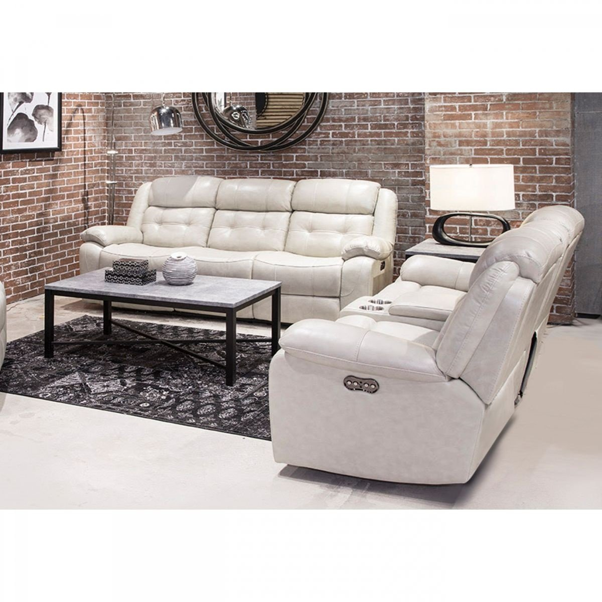 Holbrook Putty Leather Reclining Sofa Console Loveseat Badcock within 10 Clever Designs of How to Make Beige Leather Living Room Set