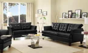 Iris Modern Black Faux Leather Sofa Couch Loveseat Set Living for Faux Leather Living Room Set
