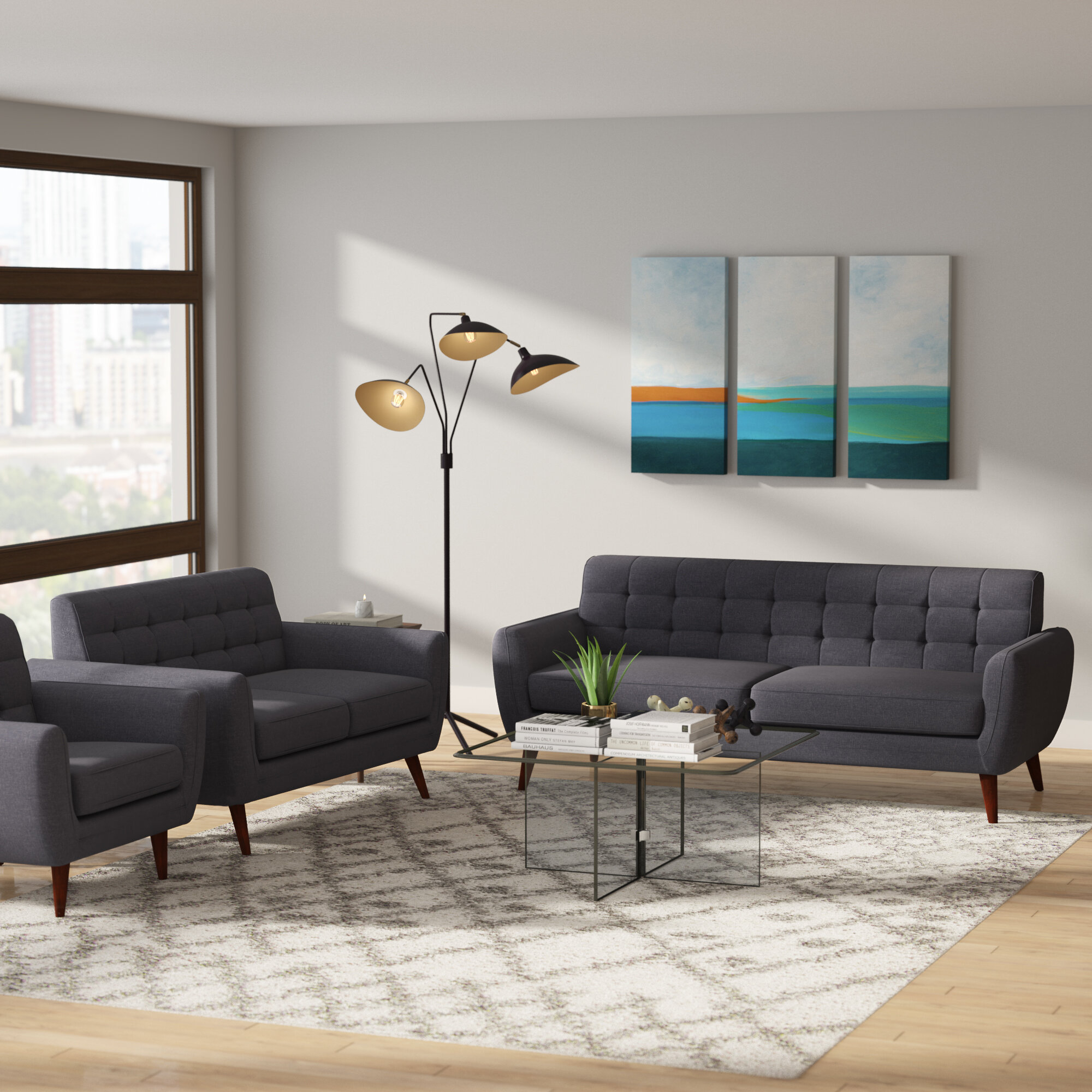Ivy Bronx Philip 3 Piece Living Room Set Wayfair with regard to Comfortable Living Room Sets