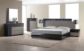 Jm Roma Platform Bedroom Set In Black And Grey Lacquer inside Modern Platform Bedroom Set