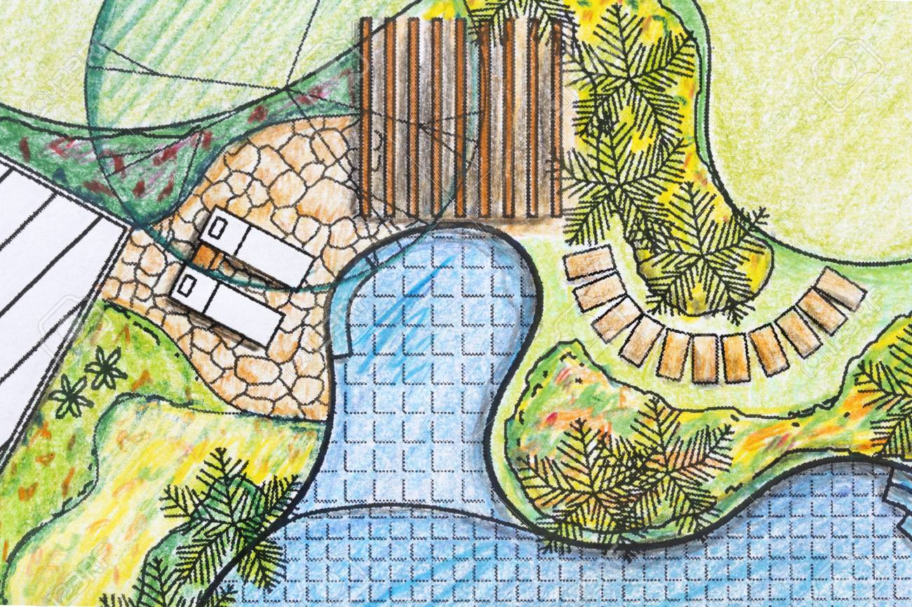 Landscape Architect Design Backyard Plan For Villa Stock Photo intended for 12 Awesome Tricks of How to Makeover Plan Backyard Landscaping