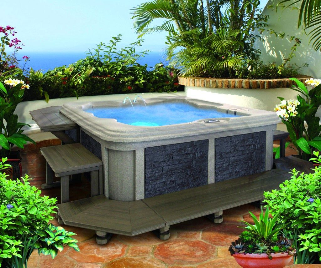 Landscaping Ideas Small Yard Hot Tub The Garden Inspirations inside 11 Clever Ideas How to Build Backyard Spa Ideas