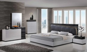 Lexi Modern King Size Sgr Silver Grey Led Light Bedroom Set 5pc with regard to 12 Clever Ways How to Improve Modern King Size Bedroom Sets