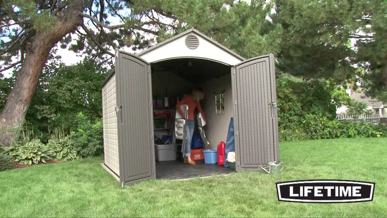 Lifetime 8 X 10 Foot Outdoor Storage Shed Model 60018 Youtube for 13 Some of the Coolest Designs of How to Build Backyard Storage Shed Ideas