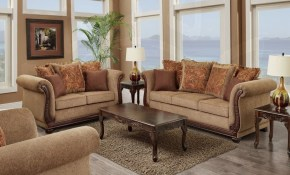 Living Room Set 3 Pc Balmoral Brown within 3 Piece Living Room Set