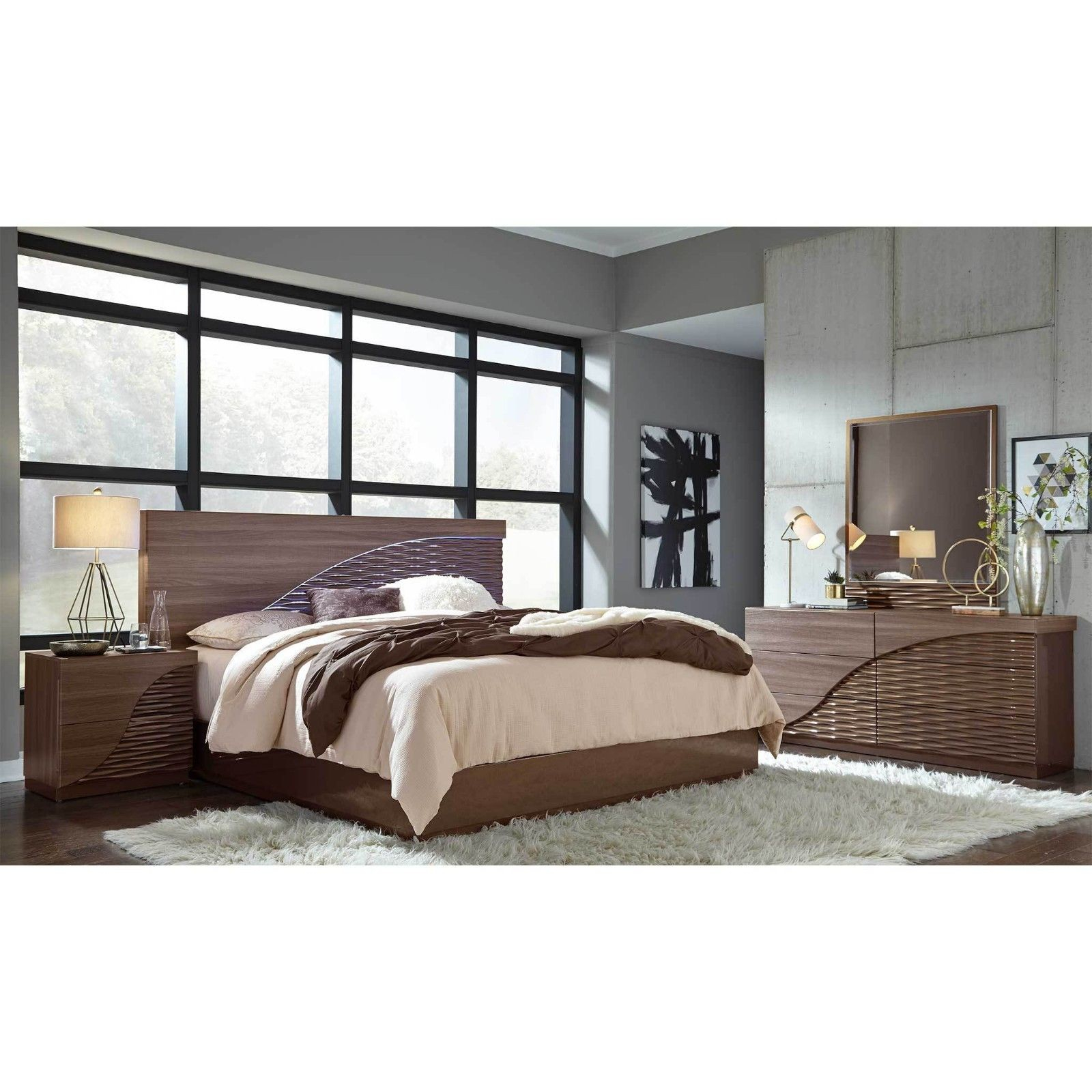 Master Modern Bedroom Set With Platform Bed With Led Accent Lighting pertaining to 13 Clever Ways How to Craft Modern Bedroom Sets Queen