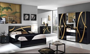Mcs Venice Venice Black Finish Bedroom Set With 6 Door Wardrobe in Black Modern Bedroom Sets