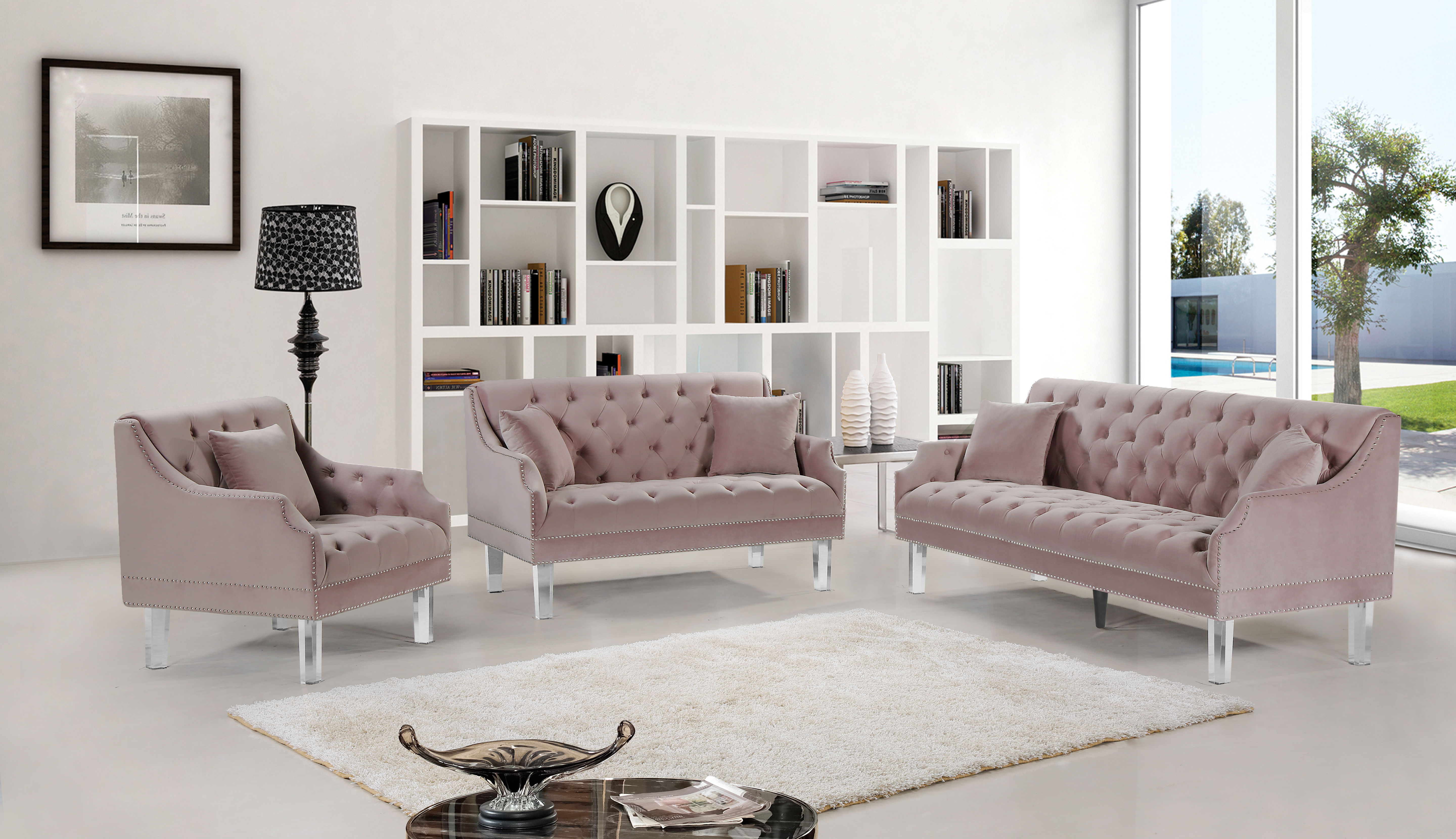 Meridian Furniture Roxy Pink Velvet 3pc Living Room Set The Classy with Pink Living Room Set