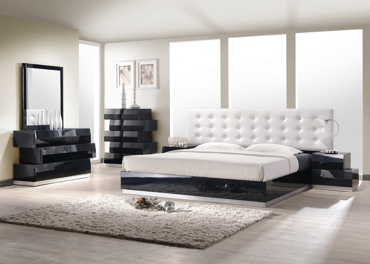 Milan Modern Leatherette Platform Bedroom Set Black Lacquer regarding Black Modern Bedroom Set