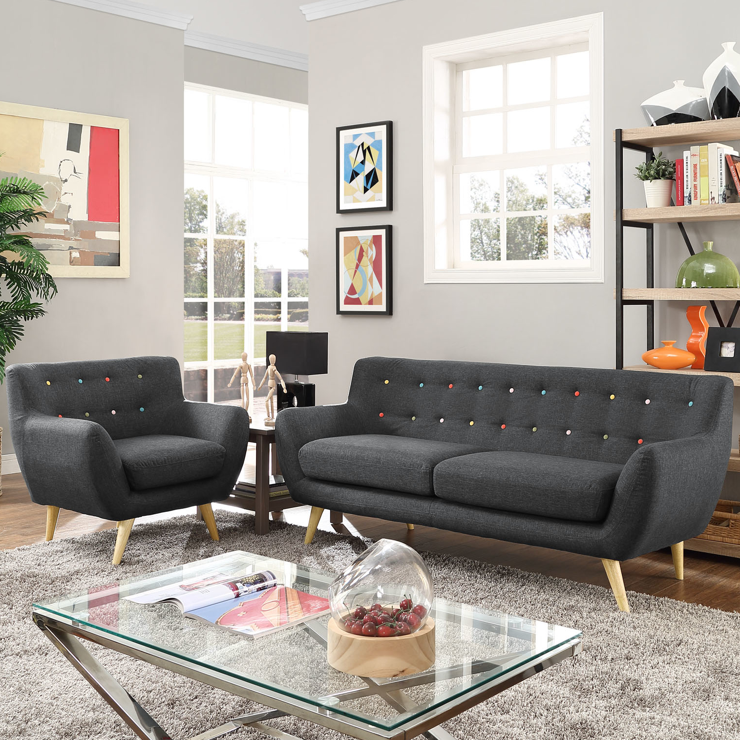 Modern Contemporary Living Room Furniture Allmodern intended for Modern Leather Living Room Set