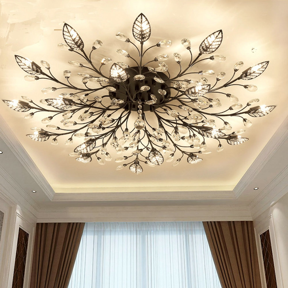 Modern Flush Mount Home Gold Black Led K9 Crystal Ceiling Chandelier regarding 11 Some of the Coolest Initiatives of How to Build Modern Bedroom Ceiling Light Fixtures