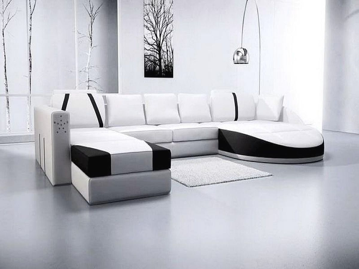 Modern Leather Sofa With Chaise For Modern Front Room Design Ideas in Used Living Room Sets For Sale