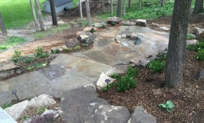 Natural Rock Landscape Design On A Sloped And Wooded Backyard pertaining to 11 Awesome Ideas How to Makeover Wooded Backyard Ideas