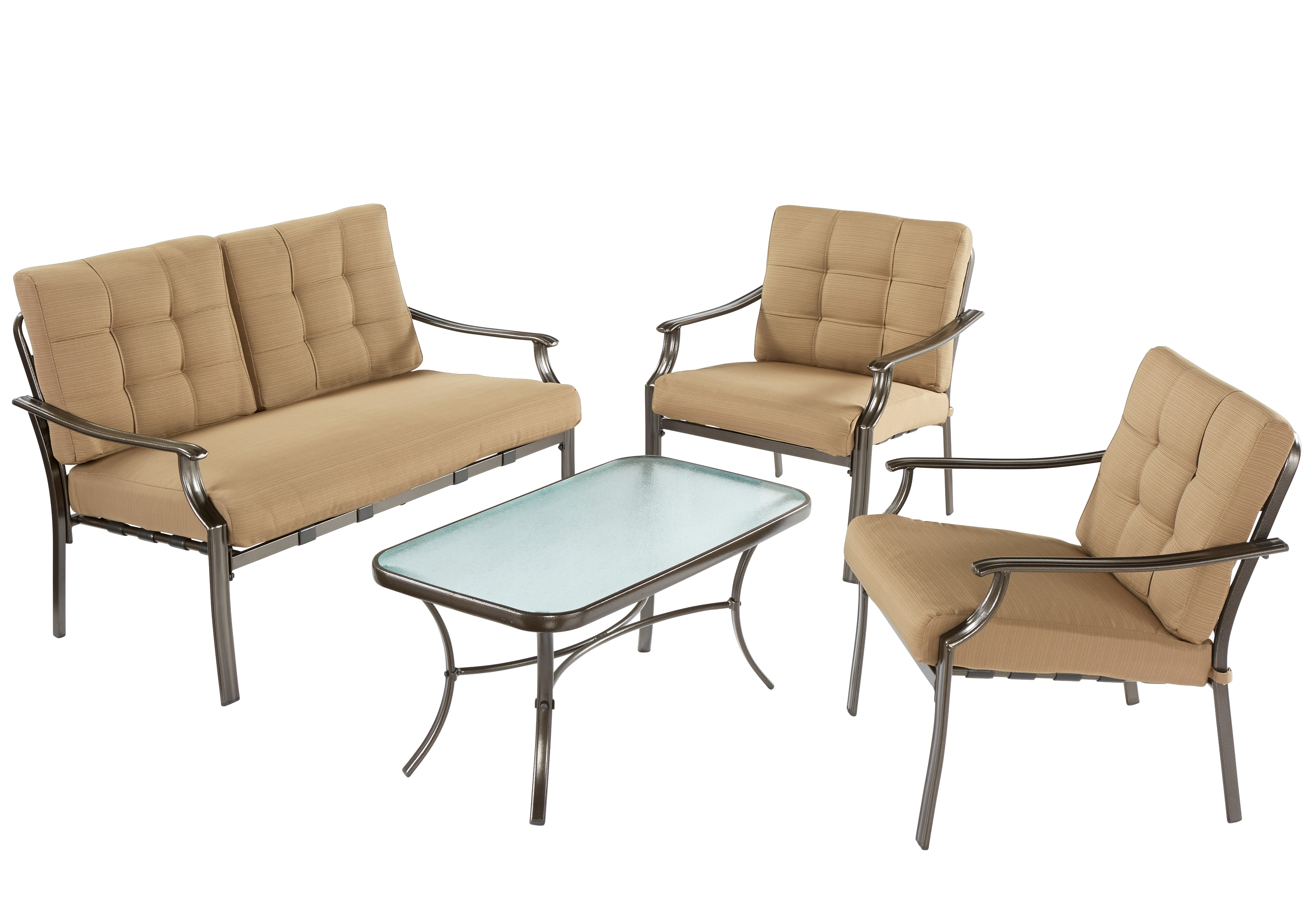 Pensacola Tan 4 Pc Outdoor Living Room Set Living Room Sets Beige inside Outdoor Living Room Sets