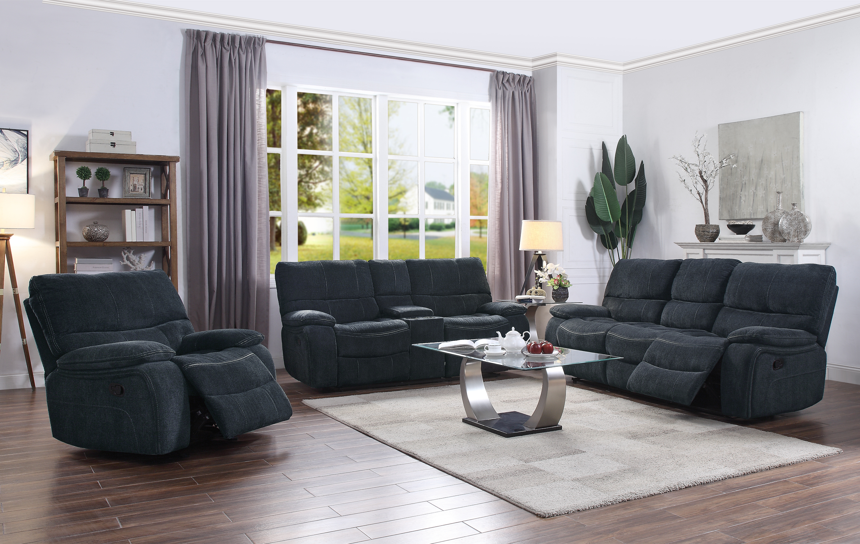 Perry 2 Piece Upholstered Living Room Set Navy Blue Coaster Fine inside Upholstered Living Room Sets