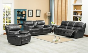 Roundhill Furniture Ewa Reclining 3 Piece Leather Living Room Set pertaining to 15 Some of the Coolest Ways How to Craft Reclining Sofa Living Room Set