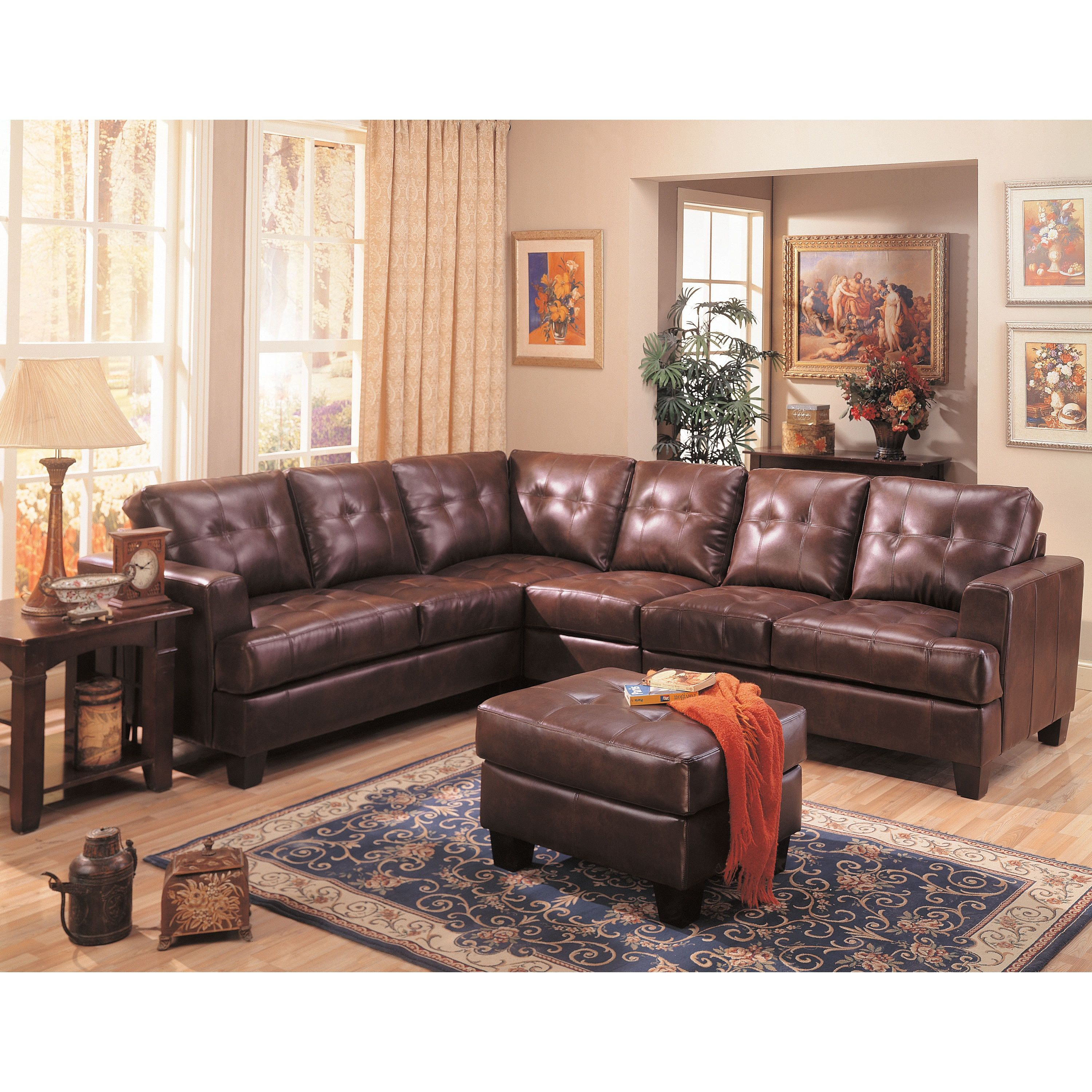 Samuel Dark Brown Bonded Leather Sectional Sofa Products Leather with regard to 10 Awesome Ideas How to Craft Leather Living Rooms Sets