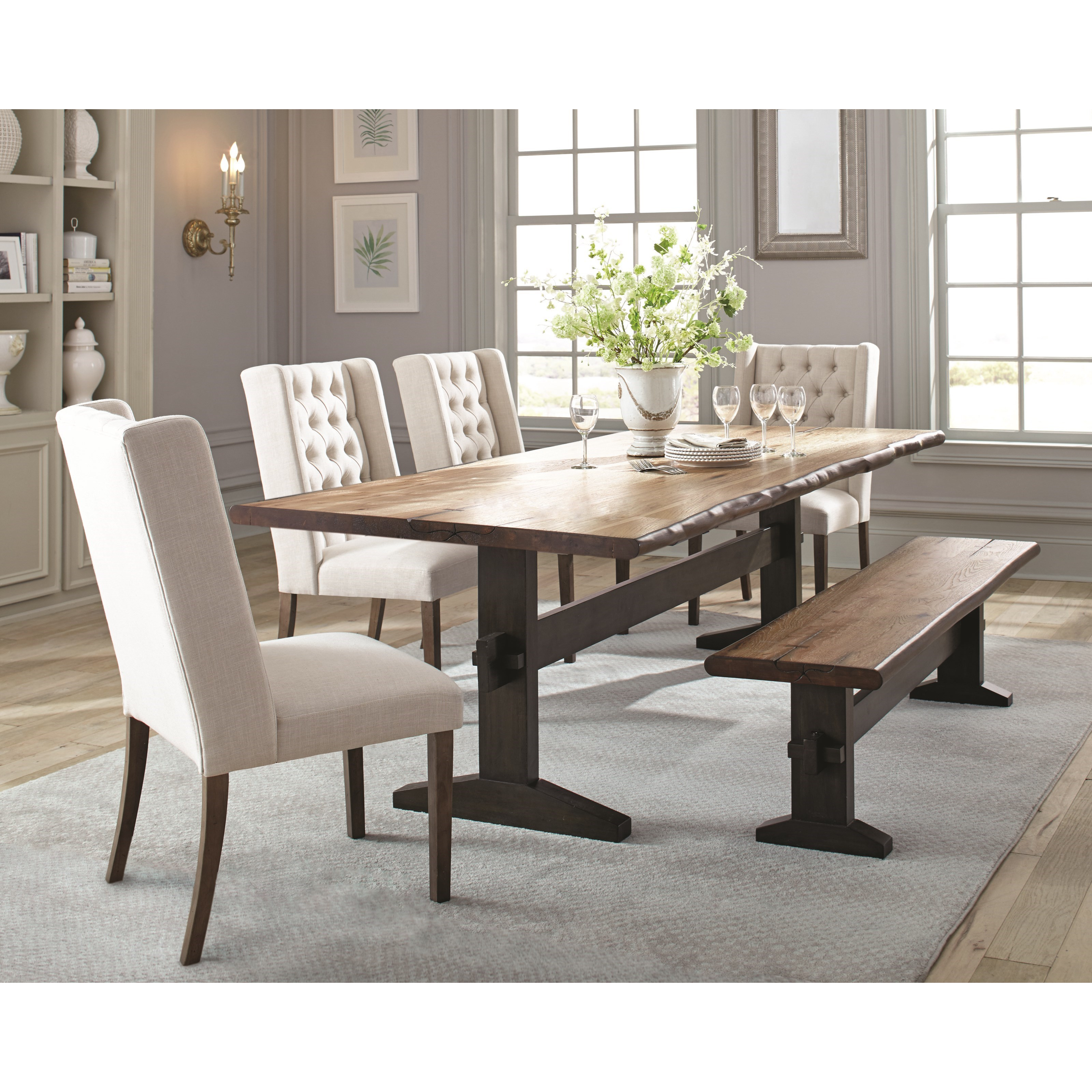 Scott Living Burnham Rustic Live Edge Dining Table Set With Bench intended for 11 Clever Designs of How to Craft Living And Dining Room Sets
