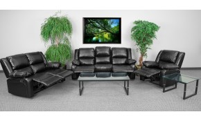 Serenity Classic Black Leather Reclining 3 Piece Living Room Set Ebay intended for 3 Piece Black Leather Living Room Set