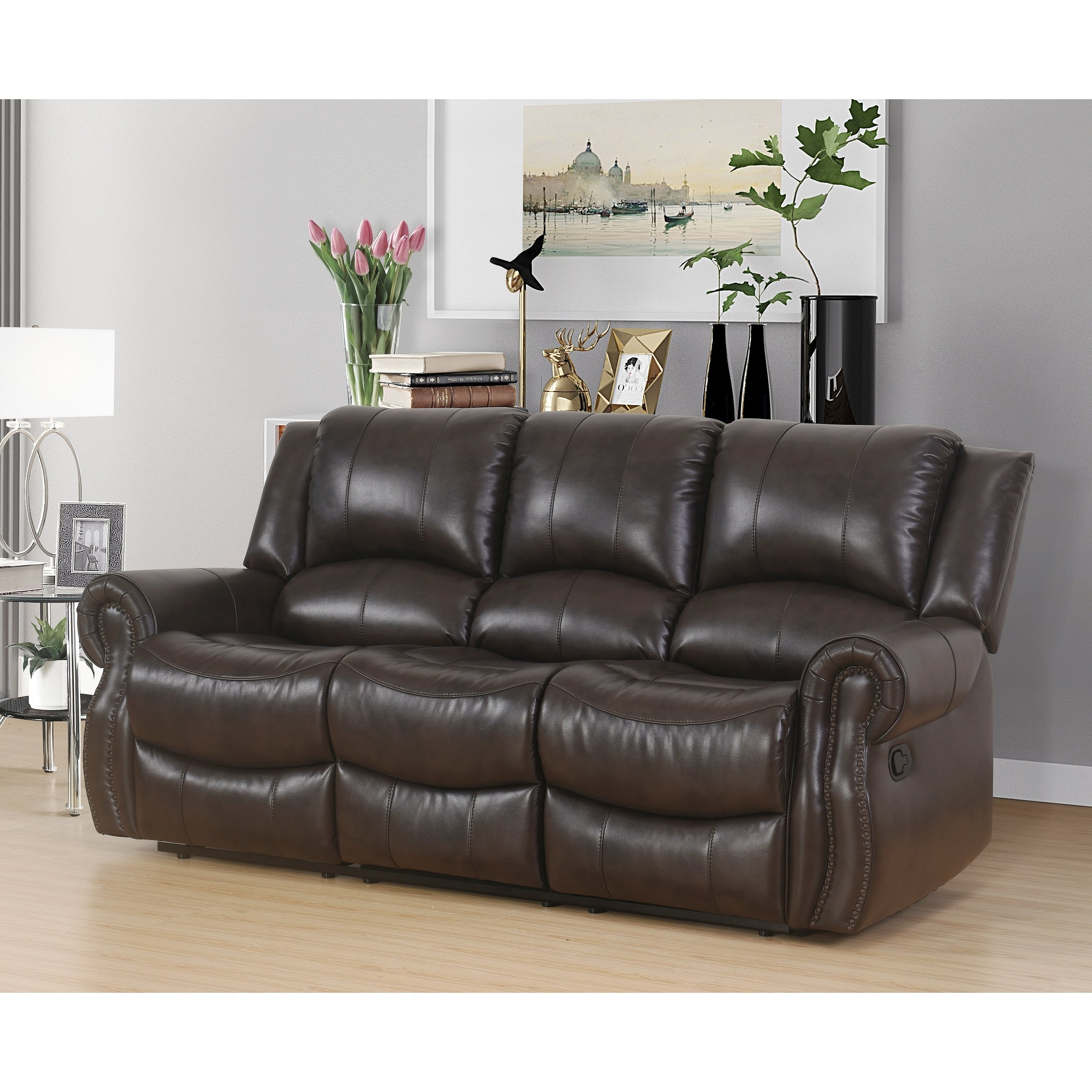 Shop Abson Bradford Brown 3 Piece Faux Leather Living Room Set in Faux Leather Living Room Set