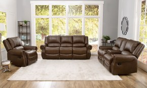 Shop Abson Calabasas Mesa Brown Leather 3 Piece Reclining Living within Cheap 3 Piece Living Room Sets