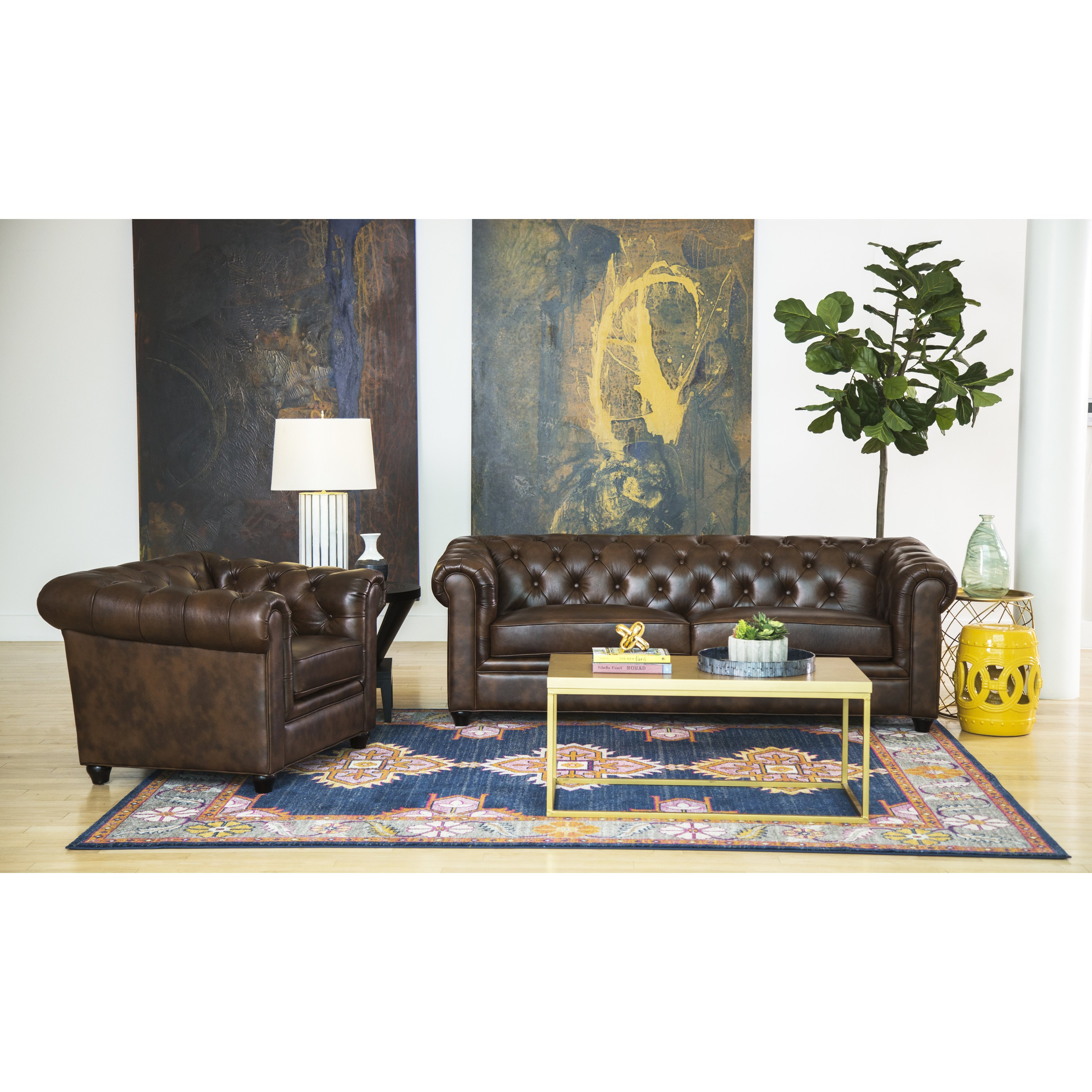 Shop Abson Tuscan Top Grain Leather Chesterfield 2 Piece Living inside 13 Genius Designs of How to Craft Chesterfield Living Room Set