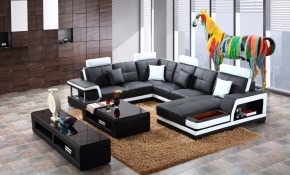 Shop Black And White Modern Contemporary Real Leather Sectional inside 14 Genius Ideas How to Improve Living Room Set With TV
