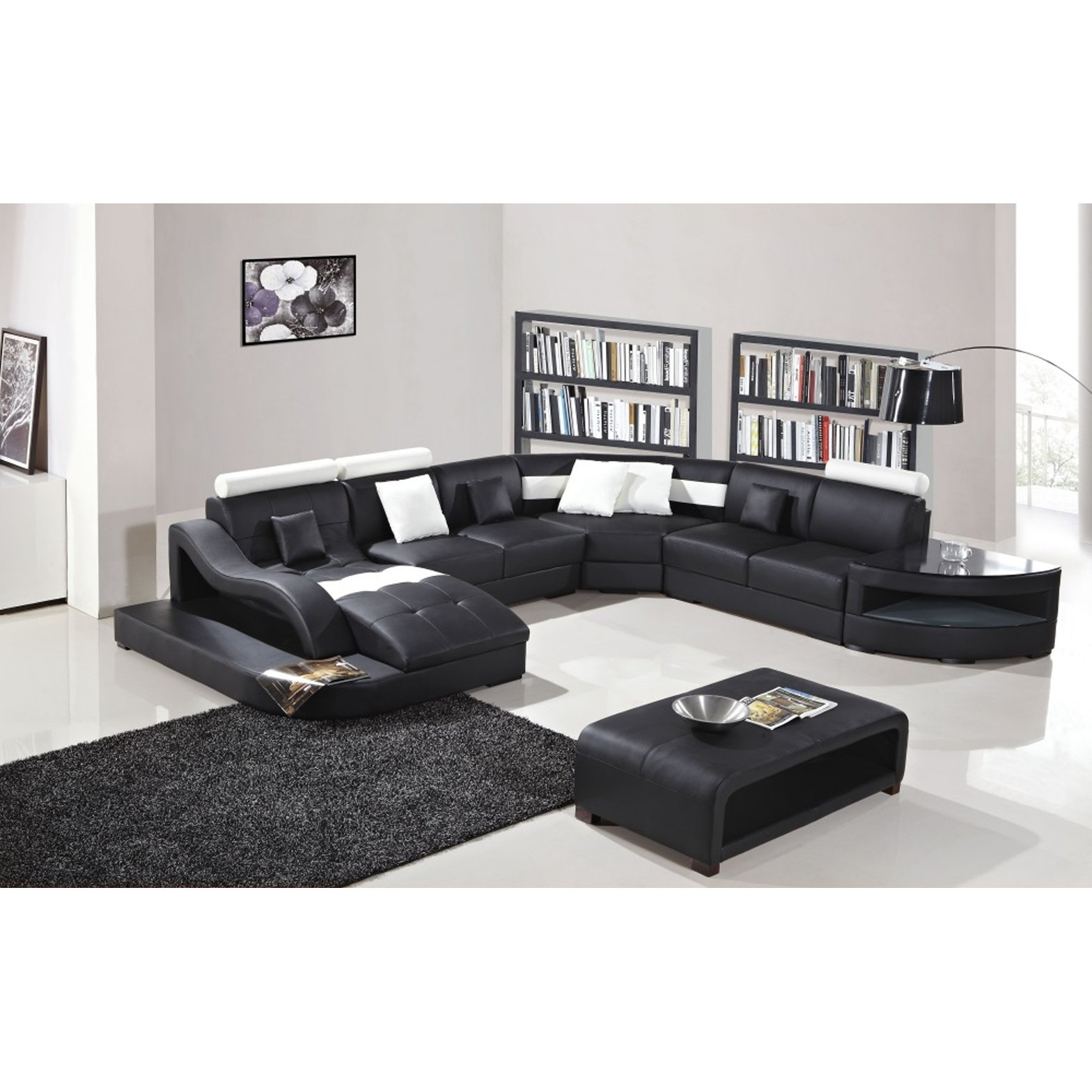 Shop Black And White Modern Contemporary Real Leather Sectional pertaining to 15 Clever Ideas How to Build White And Black Living Room Set