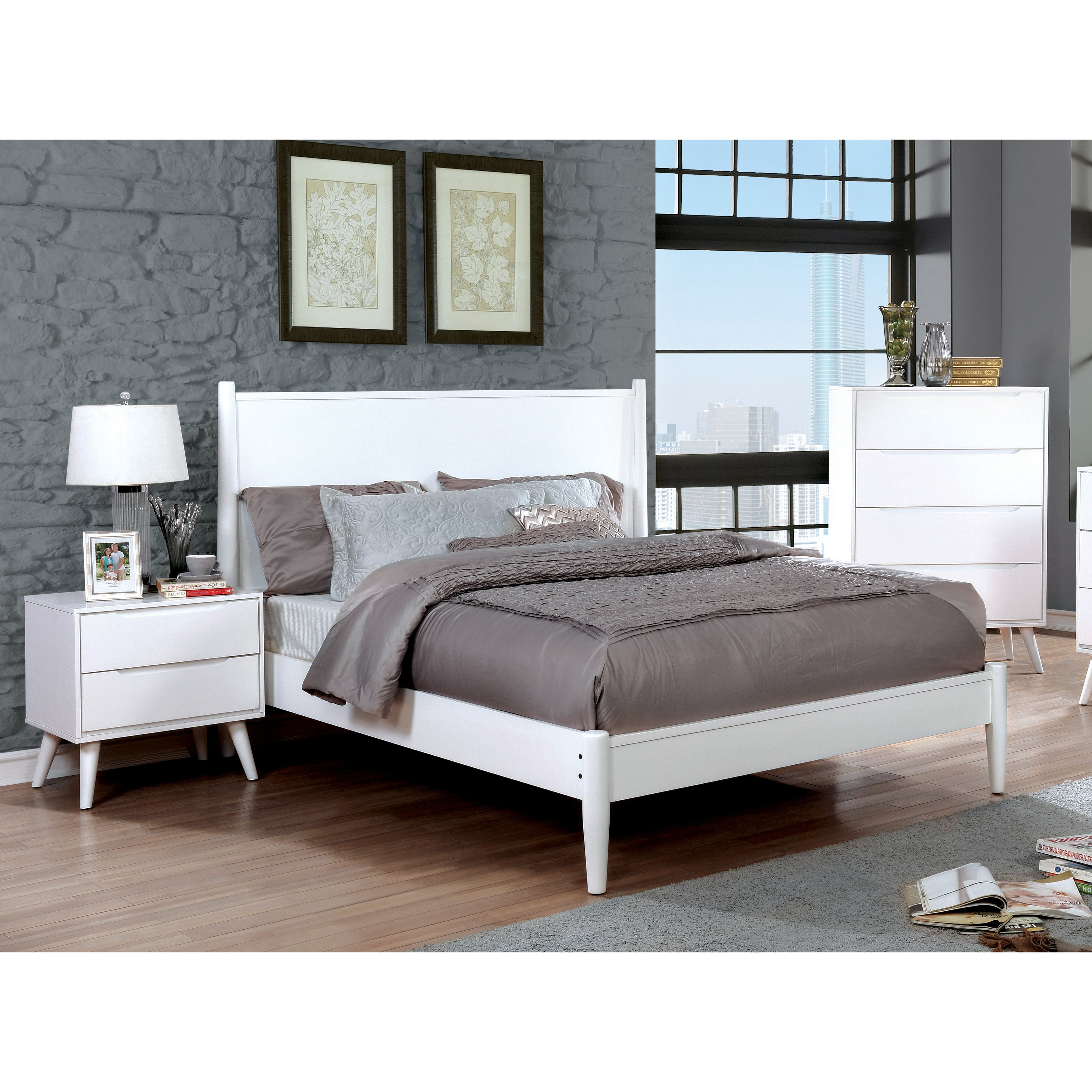 Shop Carson Carrington Bodo White Mid Century Modern 3 Piece Bedroom with White Modern Bedroom Sets