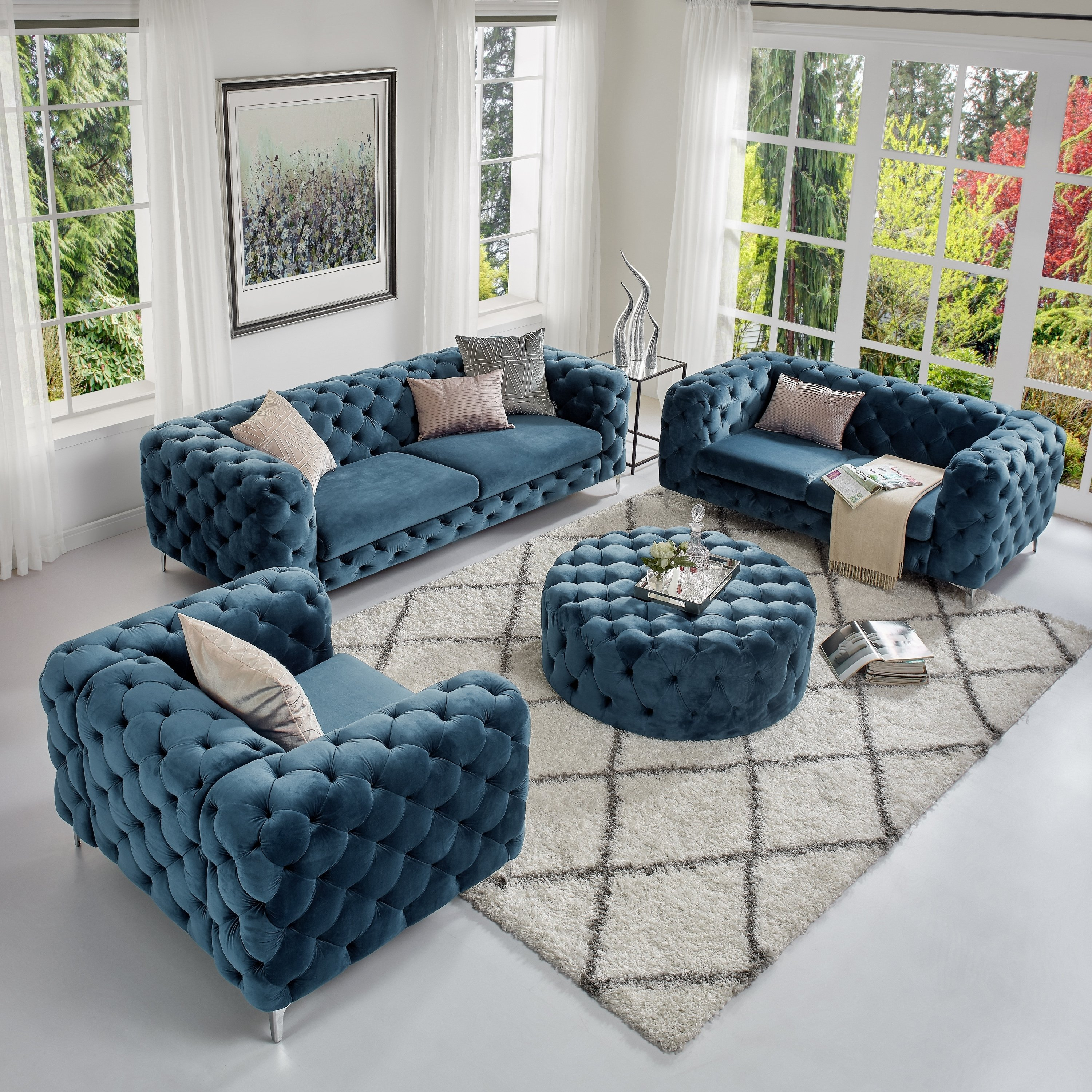 Shop Corvus Aosta Tufted Velvet Sofa Living Room Set With Ottoman intended for 12 Smart Designs of How to Build Tufted Living Room Set