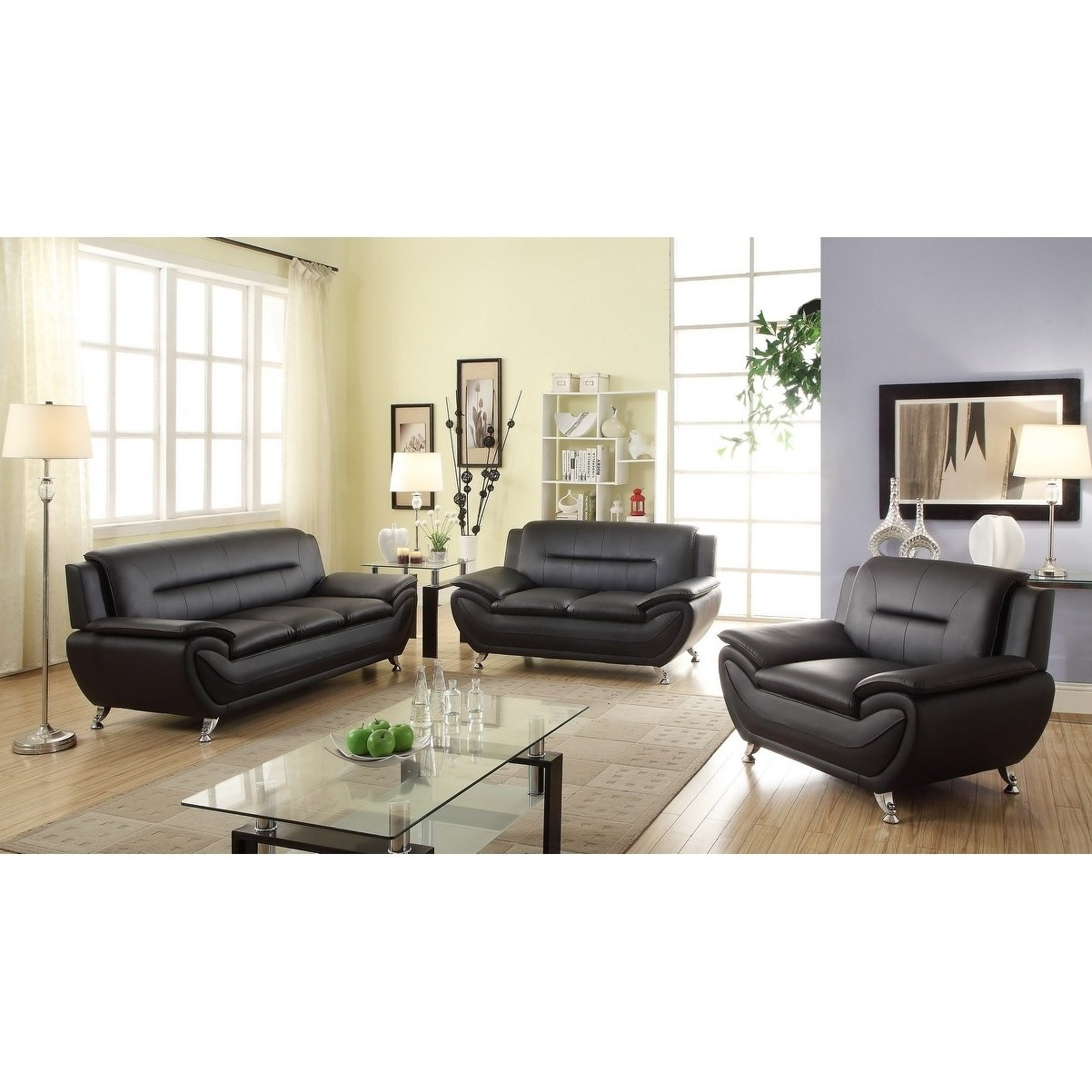 Shop Cosima Faux Leather 3pc Living Room Set Free Shipping Today intended for Faux Leather Living Room Set