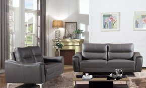 Shop Strick Bolton Vicente Grey Leather Gel 2 Piece Living Room within Cheap 2 Piece Living Room Sets