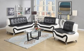 Shop Wanda 3 Piece Modern Bonded Leather Sofa Set Free Shipping inside Modern Sofa Set Designs For Living Room