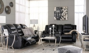 Signature Design Ashley Vacherie Black Reclining Living Room Set in Black And White Living Room Sets
