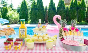 Summer Backyard Flamingo Pool Party Ideas The Polka Dot Chair pertaining to Backyard Party Ideas