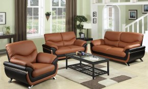 Two Tone Red And Black Leather Three Piece Sofa Set Sh216 The Home inside 14 Genius Tricks of How to Build Modern Leather Living Room Set