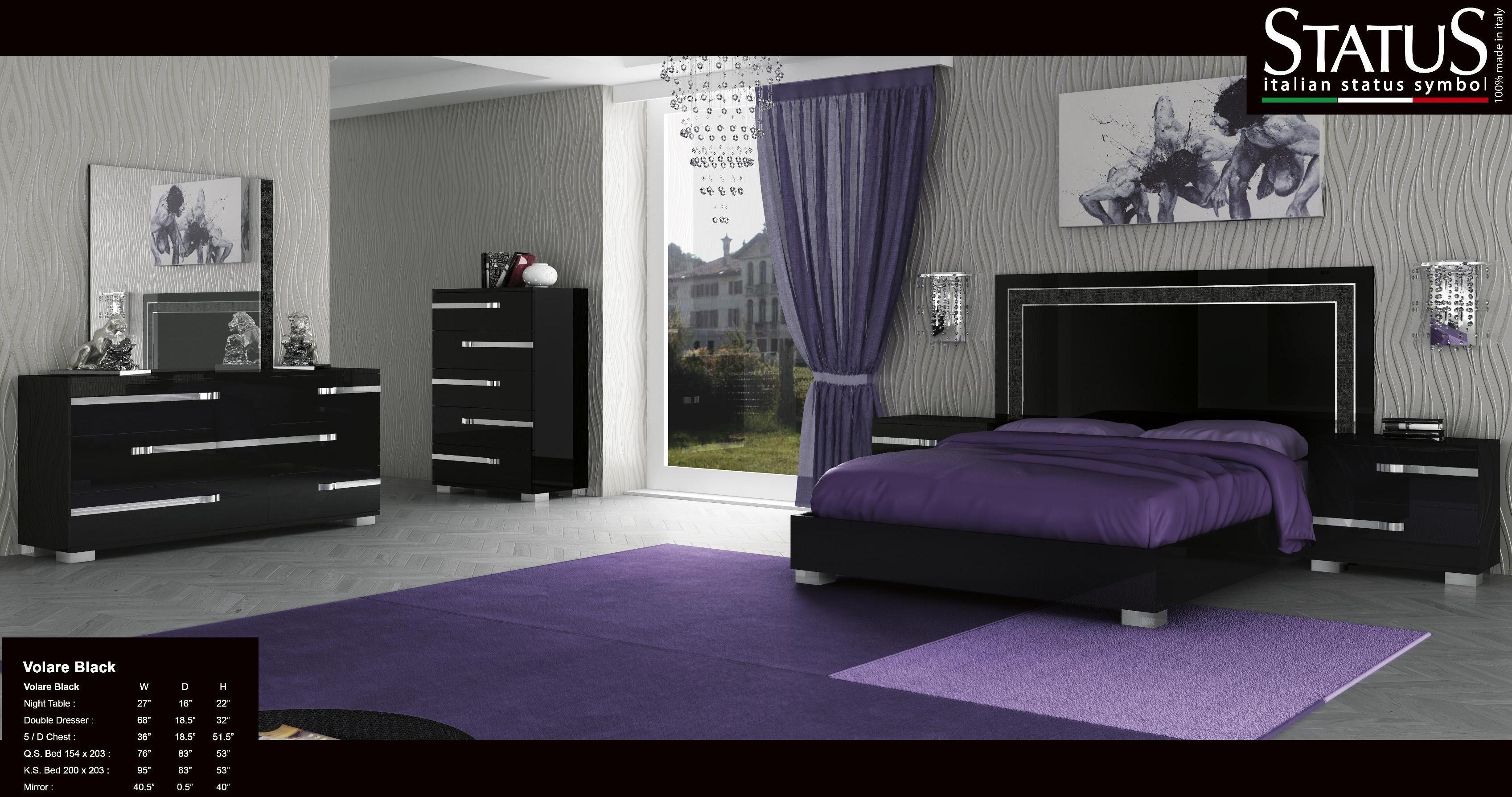 Volare King Size Modern Black Bedroom Set 5pc Made In Italy Ebay throughout Modern King Size Bedroom Sets