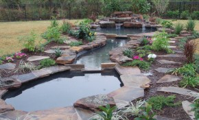 Waterfallsponds Landscape And Design Back Yard Waterfalls Front throughout Backyard Pond Ideas With Waterfall