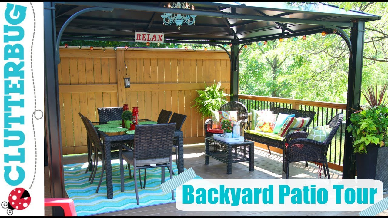 Backyard Patio Decorating Ideas Tips And Tour Youtube in Backyard Decoration Ideas