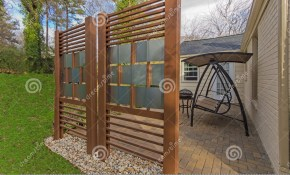 Backyard Patio With Diy Privacy Fence Stock Image Image Of Brick regarding 14 Genius Concepts of How to Upgrade Backyard Privacy Fences