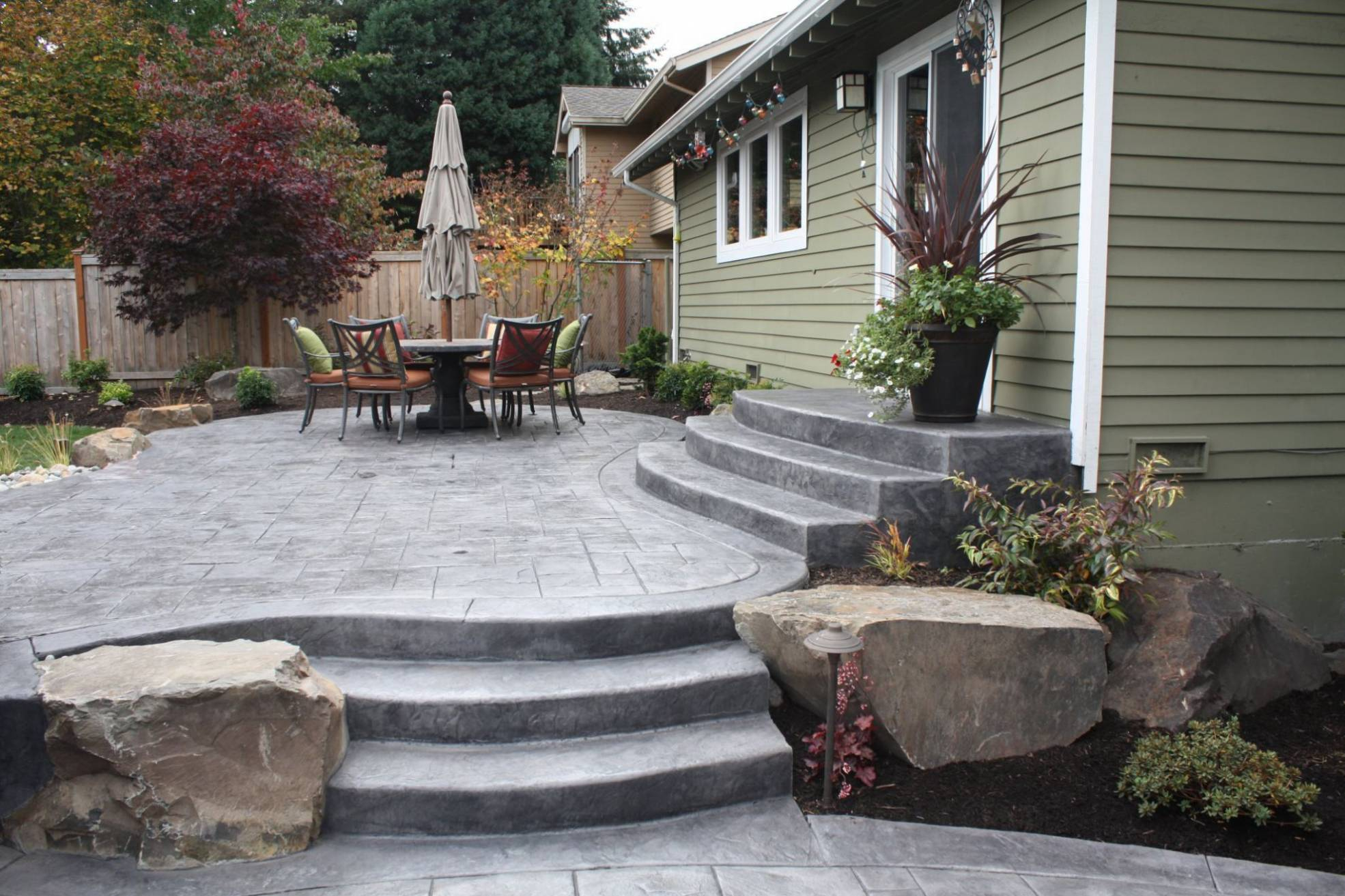 Backyard Stamped Concrete Patio Ideas Air Home Products Concrete intended for Backyard Steps Ideas